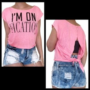 VS PINK I'm On Vacation Graphic Tie Back Tee Shirt